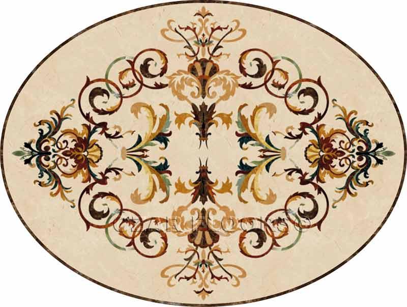 Rafael Oval Marble Floor Medallion