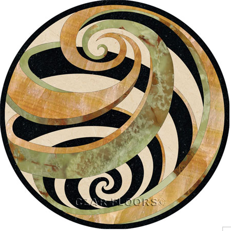 Vortex-Green Marble Floor Medallion