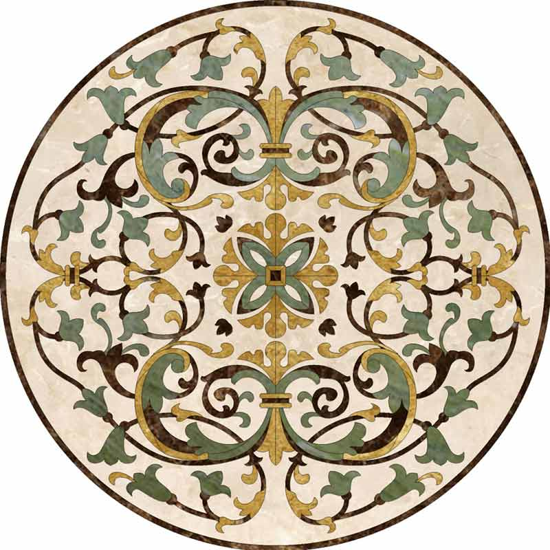 Como-Light Marble Floor Medallion