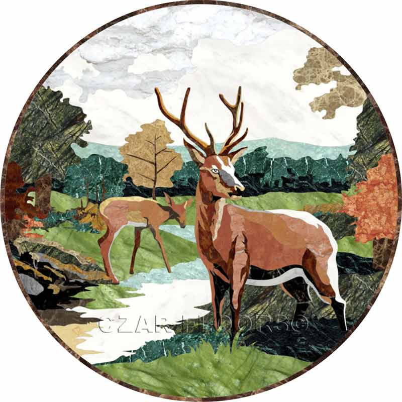 Deer Marble Floor Medallion