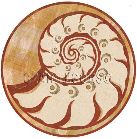 Nautilus Marble Floor Medallion