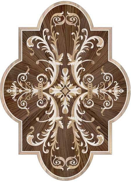 Portofino-Cartouche Wood Floor Medallion