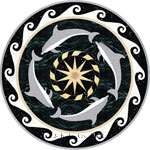 Flooring inlay:  Dolphins-II Stone Medallion