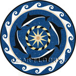 Flooring inlay:  Dolphins Stone Medallion