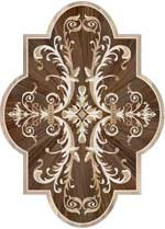 Flooring inlay:  Portofino-Cartouche Wood Medallion