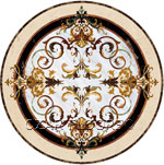 Stone medallion, waterjet marble inlay Rafael
